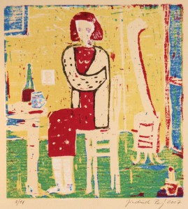 printmaking, prints for sale, woodcut, prints, Sitting up, by Jindrich Pevny