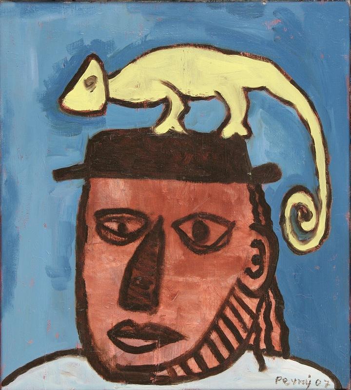 Muž se žlutým ještěrem / Man with a yellow lizard