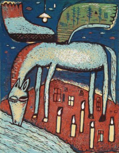 printmaking, linocut, print, Drinking Pegasus by Jindrich Pevny