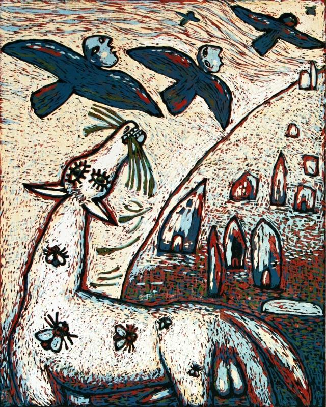 Blue flying beings, printmaking art, linocut