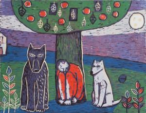 Grafika, dřevořez Jindřicha Pevného Muž, vlk a pes
